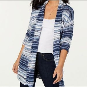 Style & Co 3X Plus Open Front Cardigan Blue